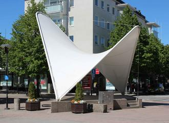 Sail canopy for pedestrian precinct